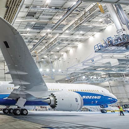 787 Boeing Airplane at manufacturing center