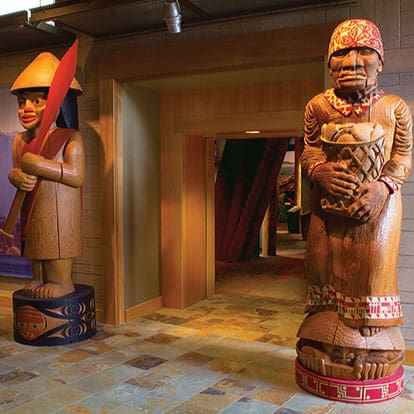 Carved Welcome Poles at the Hibulb Cultural Center