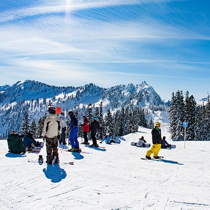 Skiiers and snowboarders at Stevens Pass
