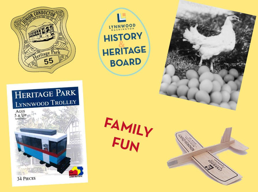 historic photo and airplane on graphic for history and heritage days in Lynnwood