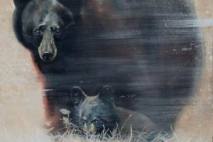 Painting of a bear from the Lynnwood Convention Center's art gallery featured artists